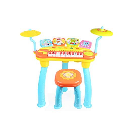 QARYYQ Rock Drum Music Piano Drum Combination Early Education Intelligence Electric Children's Musical Toys Toy (Color : Blue)