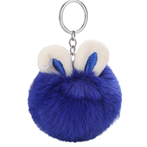 BEUU 2018 New Cute Bunny Ear Hairball Keychain 7cm Rabbit Pendant Women Key Ring Holder Pompoms Chains Keychains For Women (Blue)
