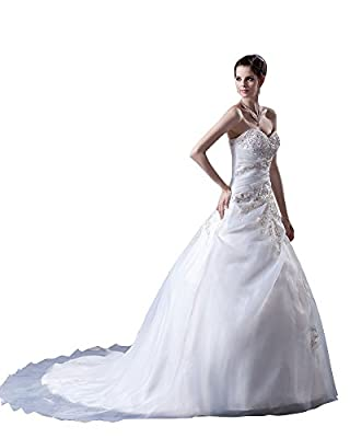 Vampal Ivory Embroidered Wedding Dress Strapless With Gold Leaf Embroidery