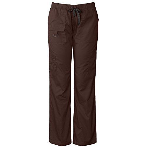 Medgear Womens Scrubs Pants, Utility Style with 7 Pockets and Loop 2043 Chocolate ()