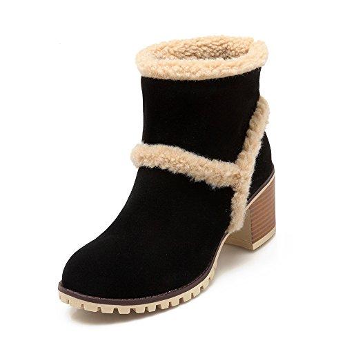 JIEEME Ladies Winter Ankle Boots Slip-on Block Heels Black Women Boots Black