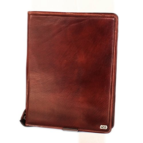 Two-tone tan color, Buffalo Leather Business Pad folio, with zipper all around, ample space for documents and Ipad, substitute your bulky bags with a stylish pad (Tan Aniline Leather)