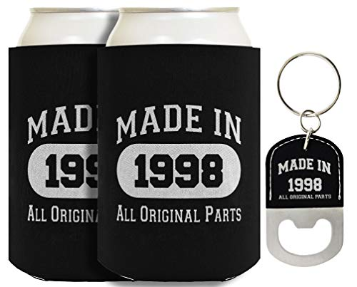 21st Birthday Gifts Made 1998 Original Parts 2-pack Can Coolies and Bottle Opener Keychain Bundle