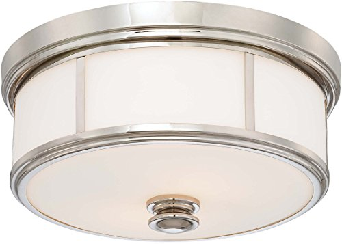 Minka Lavery Flush Mount Ceiling Light 6368-613 Low Profile Fixture, 3-Light 180 Watts, Polished Nickel