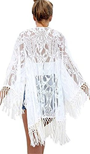 STJD Damen Bikini Cover Up StrandKleid Sommerkleid Lang Weiß Lace Blumen Strandponcho Sommer Überwurf Kaftan