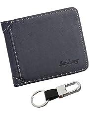 Orumlio Carteras para Hombres PU Cuero de Piel/Billetera Tarjetero Minimalista para Hombre Multiusos Men's Wallet con Llavero