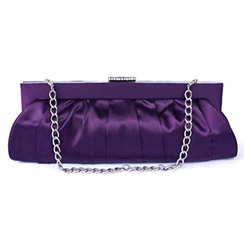 Classic Simple Satin Evening Purse Large Clutch Bag Handbag (Dark Purple) by E-TDPAC