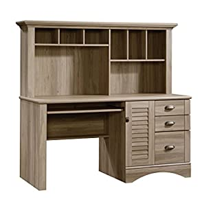 Sauder Harbor View Computer Desk with Hutch, Salt Oak finish