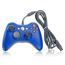 PowerRider Xbox360 Quality Guarantee Wired Controller Gamepad With USB For MICROSOFT Xbox 360 PC Windows7 XP(Blue)