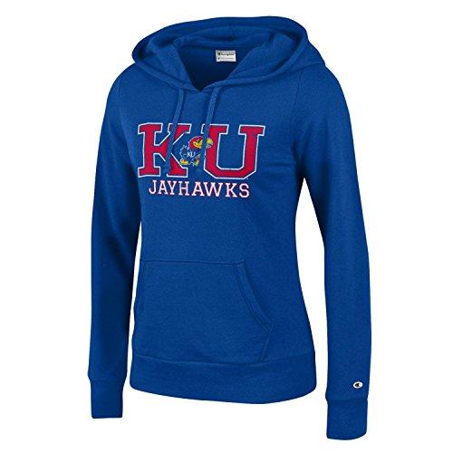 Champion NCAA Women's Comfy Fitted Sweatshirt University Fleece Hoodie Kansas Jayhawks Large - Kansas Hooded Sweatshirt