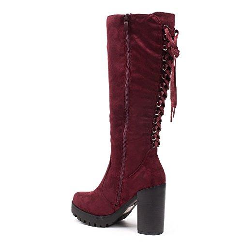 Ideal Shoes, Damen Stiefel & Stiefeletten Rot ...