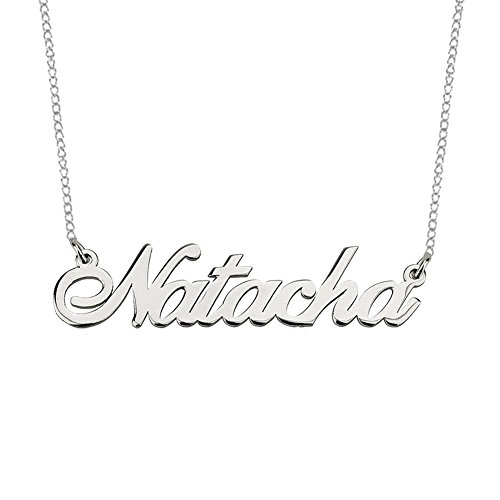 925 Sterling Silver Personalized Nameplate Necklace Pendant Custom Made with Any Names 14