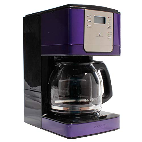 Mr. Coffee JWX27 12-Cup Programmable Coffeemaker, Silver and Purple