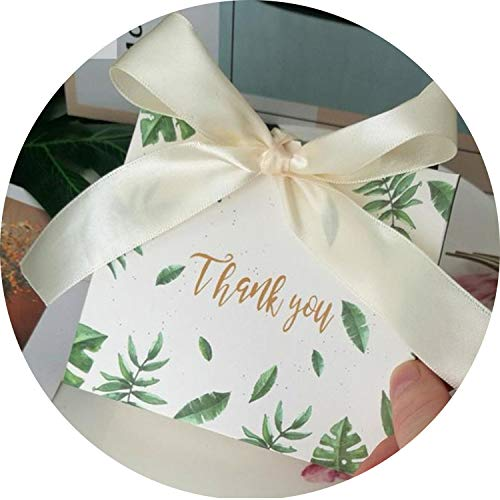 30Pcs Square Green Leaves Candy Bag Box for Party Table Decoration/Event Party Supplies/Wedding Favours Gift Boxes,B,11.4X4.5X10Cm -