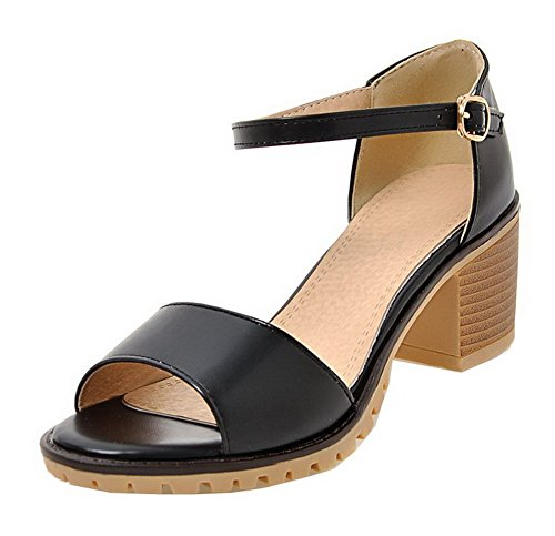 VogueZone009 Women PU Buckle Open-Toe Kitten-Heels Solid Sandals Black