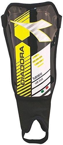 Diadora Fulmine Soft Shell Shinguards, Black/Fluo Yellow - X-Small