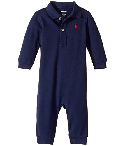 Baby Boys Polo Ralph Lauren Infant Coverall Bodysuit Solid 9 Months Newport Navy (Ralph Lauren Baby Boy Bodysuit)