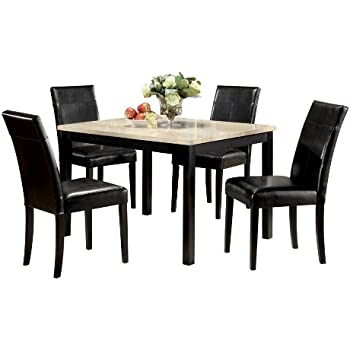 Amazon - ACME Contemporary Faux Marble Dining Set White