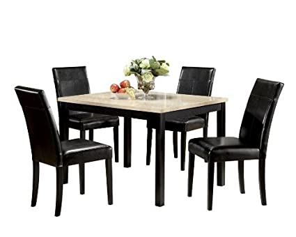 Amazon.com - ACME Contemporary Faux Marble Dining Set, White - Table ...