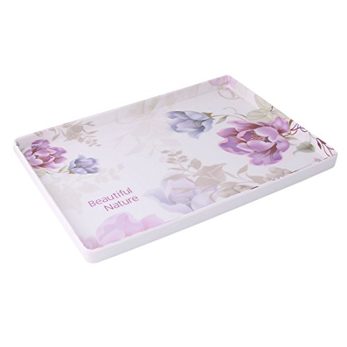 uxcell Plastic Floral Print Family Kitchen Rectangle Shaped Cup Plate Served Tray - Shaped Plastic Tray