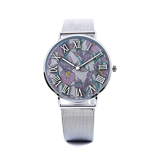Unisex Fashion Watch Iris Hand Painted Vintage Spring Print Dial Quartz Stainless Steel Wrist Watch with Steel Strap Watchband for Men Women 40mm Casual Watch