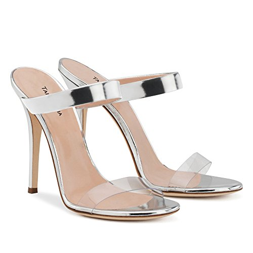 Sexy Mariage Club Sandales Grande Mules 4001 De De Plateforme KJJDE De Haut Femme Chaussures 45 Silver TLJ Talon PVC Fête Taille Transgenre Soirée S77HxR