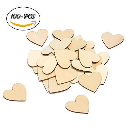 Wooden Bible Box - DLUcraft Wooden Games Heart Blank Wood Cutout Heart Slices Discs DIY Crafts for Wedding Invitations Table Scatters Vase Fillers Event Wedding Party Birthday Decoration 100 pcs