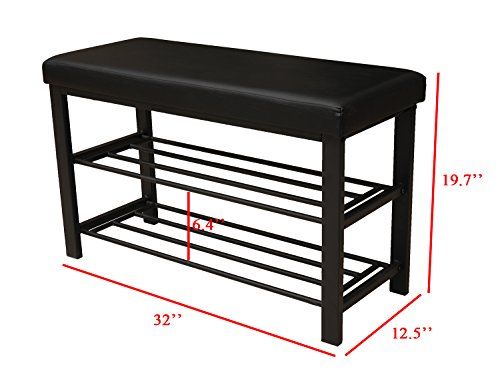 Finnhomy Entryway Shoe Rack with Cushioned Seat, 2 Shelves ...