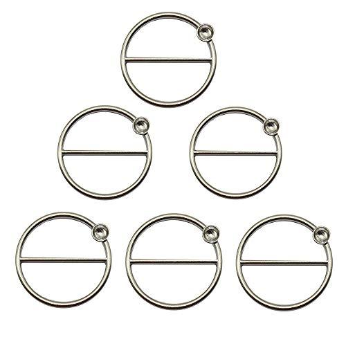 - ZHU YU CHUN 6 Pcs Round Fashion Scarf Ring Buckle, Metal T Shirt Clip Ring (Silver)