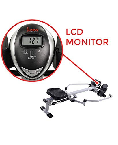 Sunny Health & Fitness SF-RW5639 Full Motion Rowing Machine Rower w/ 350 lb Weight Capacity and LCD Monitor by Sunny Health & Fitness (Image #7)