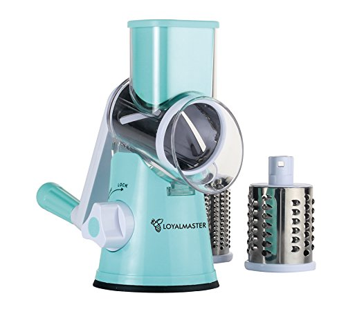 Cheddar Cheese Making - Rotary Grater Slicer Shredder Grinder - Speed Round Mandoline for Vegetable, Cheese, Carrot, Potato, Zucchini, Nut - Tumbling Box with 3 Sharp Stainless Steel Drums - Strong Suction Base - LOYALMASTER