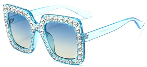 MAOLEN Square Oversized Crystal Women Sunglasses GradientShades (square blue-blue)