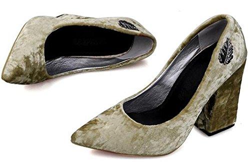 Idifu Womens Élégant Bout Pointu Hauts Talons Chunky Faible Top Slip Sur Faux Pompes En Daim Chaussures Jaune