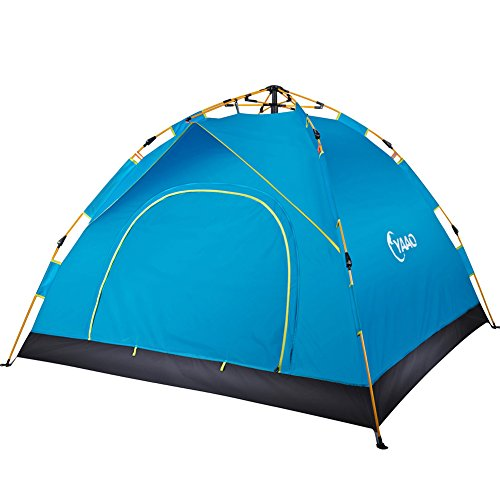Family Camping Tents Automatic Hydraulic Instant Tent Pop Up 210T PU Protection Easy Set Up Dome Tent Waterproof Sun Shelter Fiberglass Frame for Outdoor Rainproof Backpacking Hiking W Carry Bag