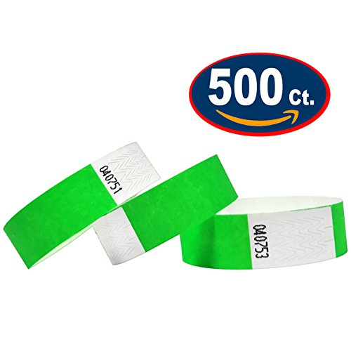 Tyvek Wristbands - 500 Pack - Neon Green - 3/4 Tyvek Wristbands For Events