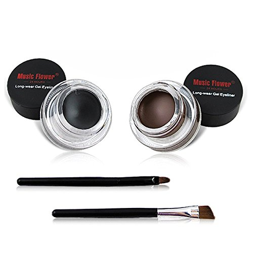 2 in 1Black and Brown Gel Eyeliner Set Water Proof Smudge Proof, Last for All Day Long, Work Great with Eyebrow, 2 Pieces Eye Makeup Brushes Included