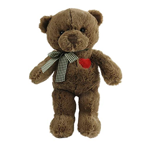 Houwsbaby Stuffed Teddy Bear Animal with Love Plush HeartCutdt Toys Plaicd Bow-tie, Valentine's Choice Gift for Girlfriends Kids on Christmas Birthday Mother's to Express Your Love, 12'', Brown