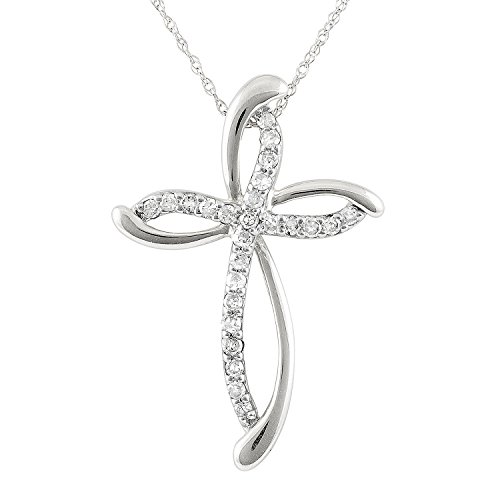 JewelExclusive 10k White Gold 1/4cttw Natural Round-Cut Diamond (I-J,Color, I2-I3 Clarity) Swirl Cross Pendant-Necklace, -