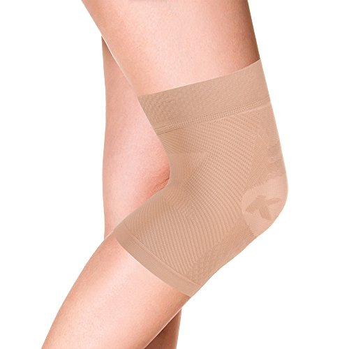 OrthoSleeve KS7 Compression Knee Sleeve (One Sleeve) for Knee Pain Relief, Aching Knees and Arthritis Relief (Natural, Small)