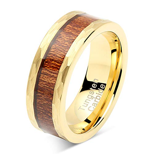 100S JEWELRY Tungsten Rings for Men Women Wedding Band Gold Hammered Edge Wood Inlaid Sizes 8-15 (8.5)