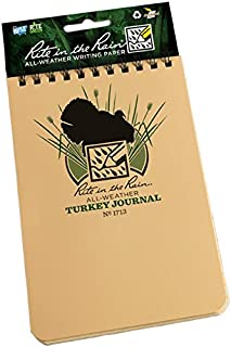 "product image for Rite in the Rain All-Weather Top-Spiral Notebook, 4"" x 6"", Tan Cover, Turkey Hunting Journal (No. 1713)"
