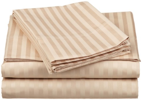 100% Egyptian Cotton 650 Thread Count Full 4-Piece Sheet Set, Deep Pocket, Single Ply, Stripe, Beige ()