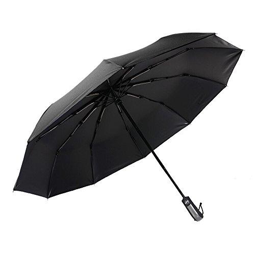 Sombrilla plegable automtica para hombre de negocios Aumentar paraguas de doble uso a prueba de viento (Color : Black)
