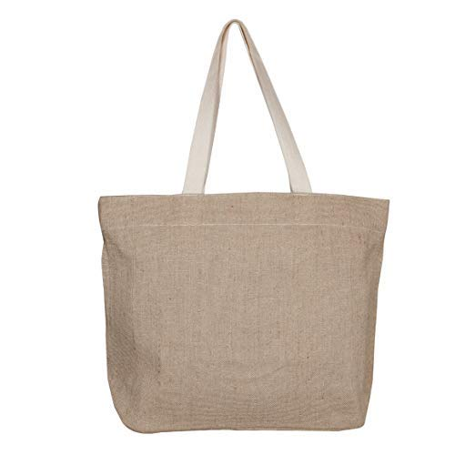 EcoRight Jute Canvas Tote Bag with zipper - Reusable 100% EcoFriendly Large Size (Natural) - 0501