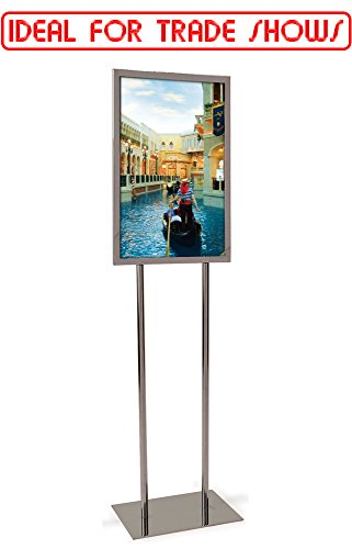 Econoco Metal Sign Holder – Metal Holder For Signs, Commercial Bulletin Sign Holder with Flat Base, 14