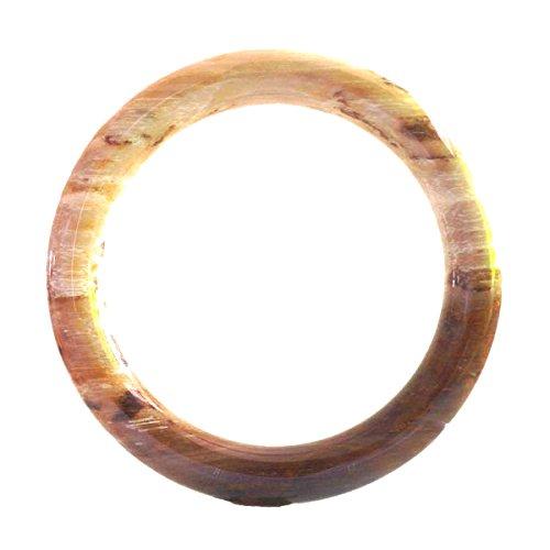 Karatgem Jewelry Petrified Wood Bangle Bracelet Round (Large Inner 60-62 mm)