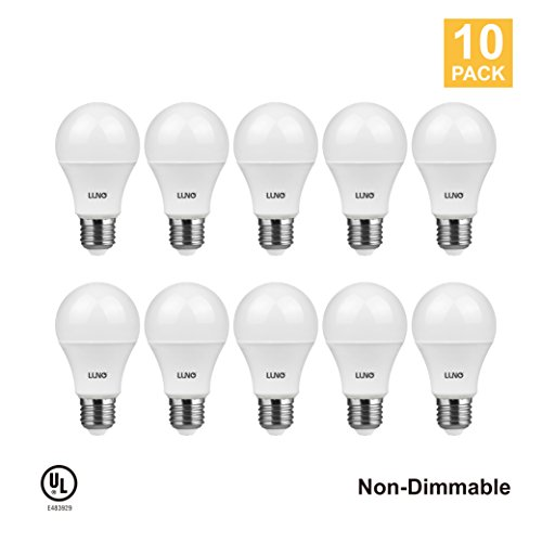 LUNO A19 Non-Dimmable LED Bulb, 9.0W (60W Equivalent), 800 Lumens, 4000K (Neutral White), Medium Base (E26), UL Certified (10-Pack)