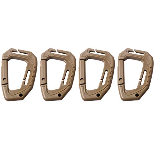 (Carabiner Key Chains - Set of 4 Plastic Snap Clip Carabiner, Outdoor Hanging Keychain Hook, for Home, Camping, Fishing (♥ Khaki))