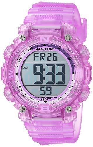 Armitron Sport Women's 45/7086TPR Digital Chronograph Translucent Purple Resin Strap - Digital Chronograph