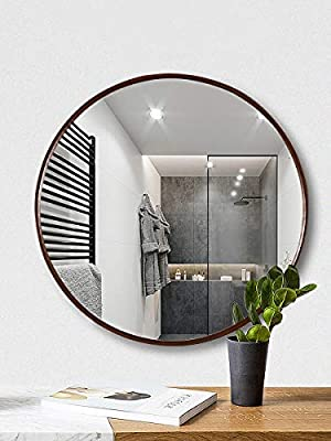 TinyTimes Clean Large Wall Mirror, Round Vanity Mirror, Dresser Mirror, Wooden Dark Brown Frame, for Entryways, Living Rooms, Bathroom, 19.69-inch Home Mirrors Decor